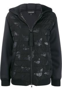 Ea7 Emporio Armani Hooded Padded Jacket - Preto