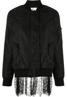 Self-Portrait Lace Back Bomber Jacket - Preto