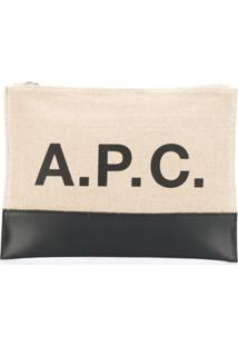 A.P.C. Bolsa Clutch Com Logo Estampado - Neutro
