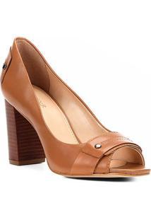 b835fb39d8 ... Peep Toe Couro Shoestock Salto Grosso Tira - Feminino-Caramelo