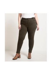 Calça Skinny Lisa Em Sarja Curve & Plus Size Verde