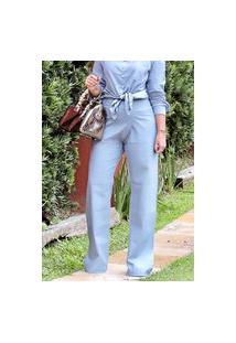 Calça Pantalona Linho Conigli Azul