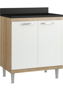 Armário De Cozinha 70 Cm 5122 Com Tampo Cx Argila Fosco Fr Branco - Multimóveis
