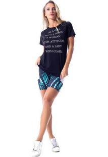 Blusa Com Recorte Em Tela- Azul Marinho Brancavestem