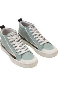 Tenis Couro Cano Alto Skate Sneaner - Azul Claro - 35