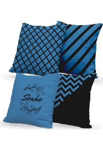 Kit 4 Capas De Almofadas Decorativas Own Geométricas E Sonhe Azul 45X45 - Somente Capa