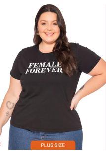 T-Shirt Feminina Em Meia Malha Com Escrita Preto