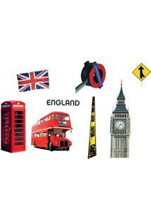 Adesivo De Parede Londres- Vermelho & Amarelo- 70X50Evolux