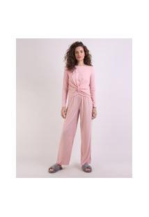 Pijama Feminino Canelado Com Nó Manga Longa Rosa Claro