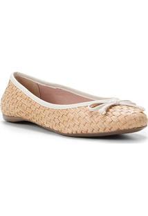 Sapatilha Shoestock Ráfia Laço Feminina - Feminino-Branco
