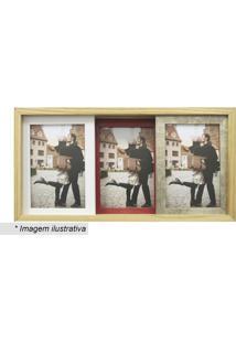 Painel Slide Para 3 Fotos- Marrom Claro & Vermelho- Kapos