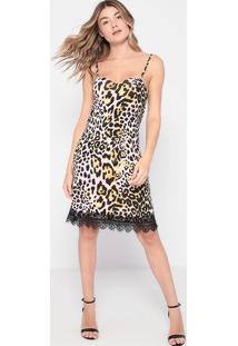 Vestido Animal Print Com Renda- Rosa & Preto- Thiptothipton