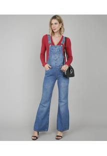 Macacão Jeans Feminino Pantalona Azul