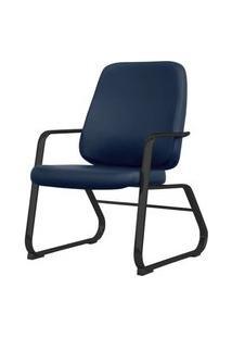 Cadeira Maxxer Diretor Assento Courino Azul Base Fixa Preta - 54854 Azul