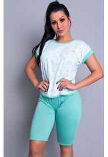 Pijama Mvb Modas Pescador Adulto Blusinha E Calça Curta Verde