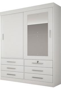Guarda-Roupa Solteiro Com Espelho 2 Portas Sonare- Novo Horizonte - Branco