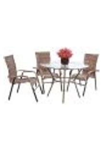 Conjunto 3 Cadeiras E Mesa Alta Com Tampo Bela, Jardim, Fibra Sintetica Capuccino