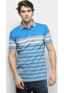 Camisa Polo Aleatory Listrada Fio Tinto Masculina - Masculino-Azul+Cinza