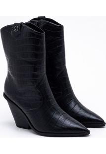 Ankle Boot Couro Croco Preta