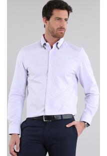 Camisa Slim Estampada Lilás