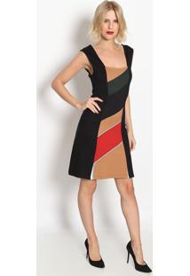 Vestido Com Recortes- Preto & Vermelho- Forumforum