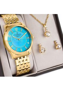 Kit Relógio Champion Feminino Com Colar E Brincos Cn27698Y