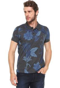 Camisa Polo Aramis Slim Floral Grafite/Azul