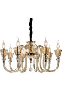 Lustre Wells Premier Iluminação 138X68 Metal Cristal Dourado