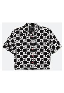 Camisa Cropped Estampa Quadriculada Com O Mickey | Mickey Mouse | Preto | G