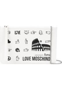 Love Moschino Clutch Roma Com Estampa - Branco