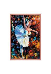 Quadro Love Decor Com Moldura Bailarina Rose Metalizado Médio