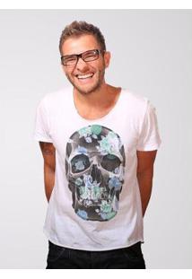 Camiseta Estonada Corte À Fio Joss Flores Turca Masculina - Masculino-Branco