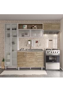 Cozinha Compacta Floripa 8 Pt 3 Gv Branca E Carvalho Claro