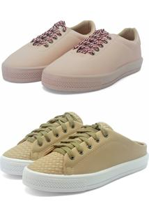 Kit 2 Pares Com Tênis Rosa E Mule Tênis Bege Retta Shoes