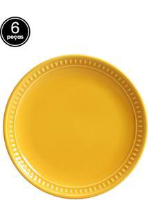 Jogo De Pratos Sobremesa 6 Pçs Sevilha Mostarda Porto Brasil