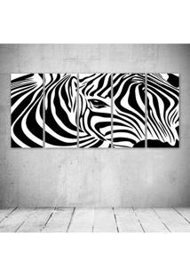 Quadro Decorativo - Zebra1 - Composto De 5 Quadros - Multicolorido - Dafiti
