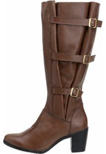 Bota Cano Alto Atron Shoes Ajustável Couro Legítimo - Feminino-Marrom