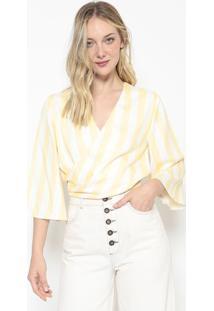 Blusa Transpassada Listrada - Amarela & Off Whitelez A Lez