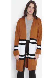 Casaqueto Em Tricô Alongado & Listrado - Marrom Claro & Wool Line