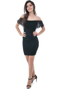 Vestido Pkd Concept Renda Chanel Ombro A Ombro Preto