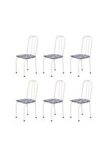 Kit 6 Cadeiras Baixas 0.101 Assento Reto Branco/Cinza Claro Floral - M