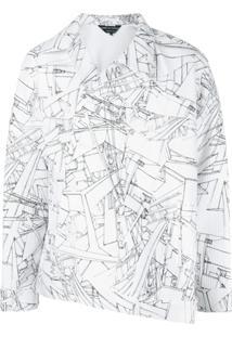 Comme Des Garçons Homme Plus Jaqueta Assimétrica Estampada - Branco