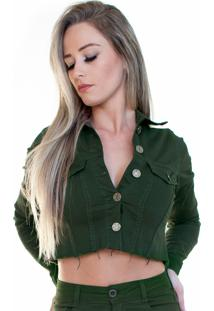 Jaqueta Jeans Ecolife Jeans Cropped Desfiada Verde Militar