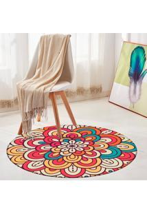 Tapete Redondo Wevans Mandala Flor Multicolor 84Cm