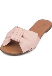 Rasteira Trivalle Shoes Rosê Com Laço