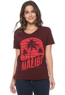 Camiseta Calvin Klein Jeans Malibu Destroyed Bordô