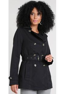 9e1630cd3 ... Casaco Trench Coat Feminino Com Bolsos Preto