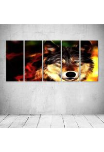Quadro Decorativo - Wolf Neon Face - Composto De 5 Quadros