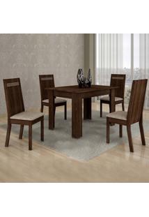 Conjunto De Mesa Com 4 Cadeiras Ouro Preto Suede Malbec E Bege