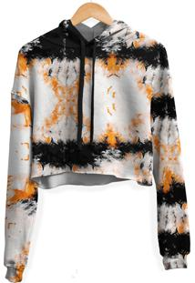 Blusa Cropped Moletom Feminina Marmorizado Tie Dye Md35 - Branco - Feminino - Poliã©Ster - Dafiti